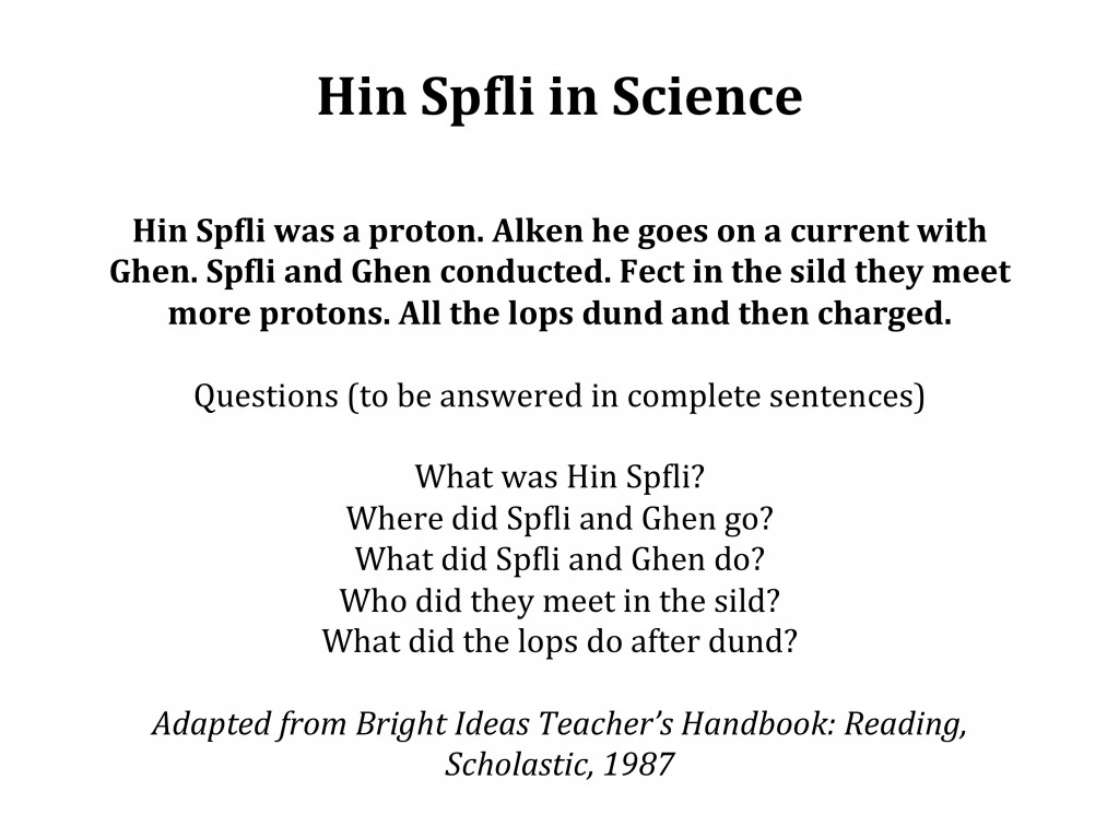 Hin Spfli in science - they can read but do they understand?