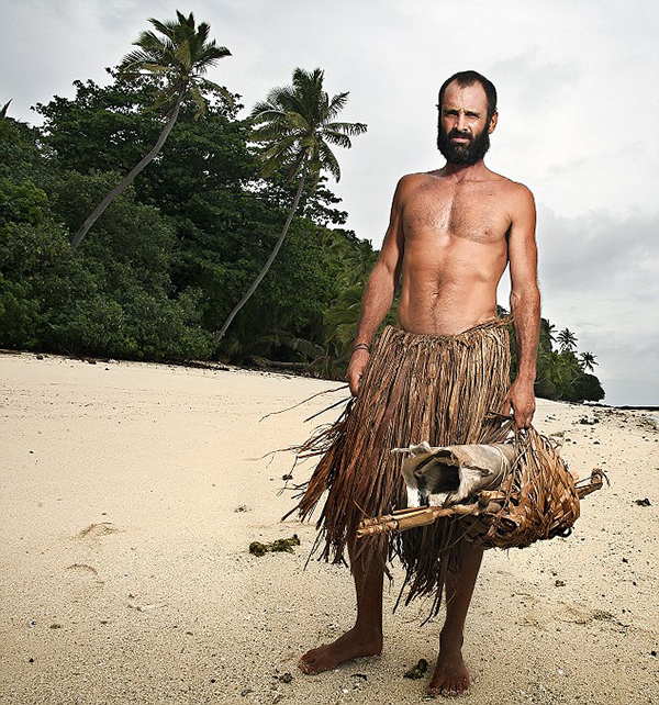Picture Shows: Ed Stafford on Olorua Island in Fiji after spending 60 days alone on an uninhabited island